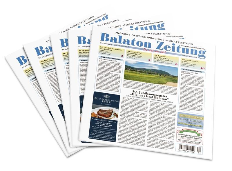"""Balaton Zeitung Juli 2018 - 50. Jubiläumsregatta """"Blaues Band Balaton"""""""