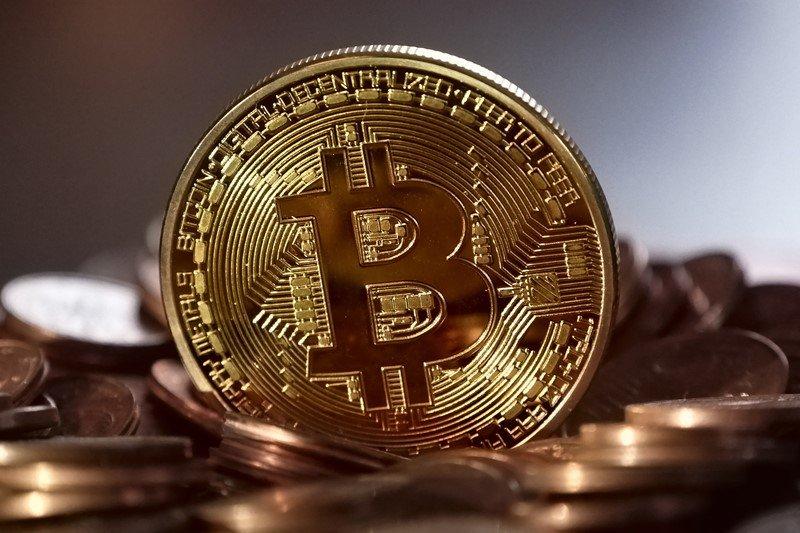 Nahaufnahme einer Bitcoin-Münze