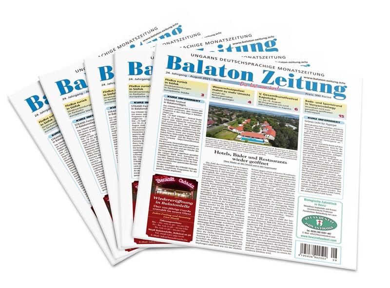 Balaton Zeitung August 2021 - Hotels, Bäder und Restaurants wieder geöffnet