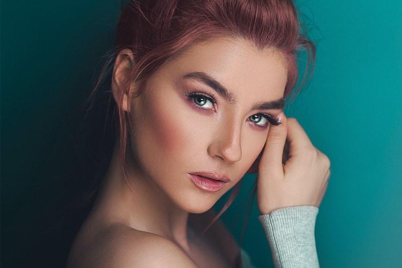 Makeup Model mit schönen Lippen