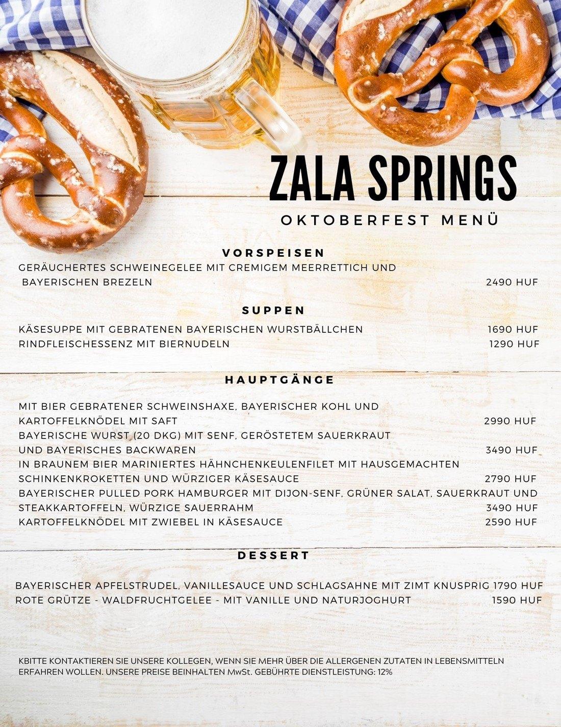 Oktoberfest Menüs 2020 Zala Springs Golf Resort